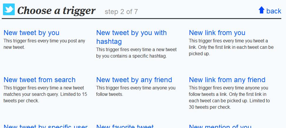 ifttt twitter options