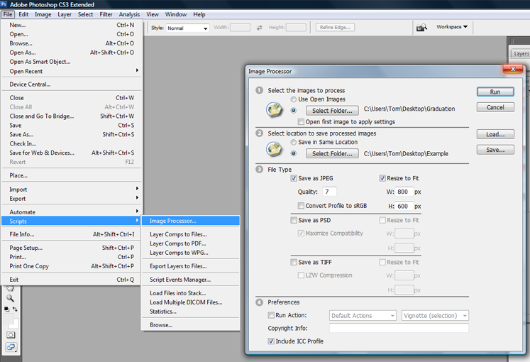 Image processing option in photoshop