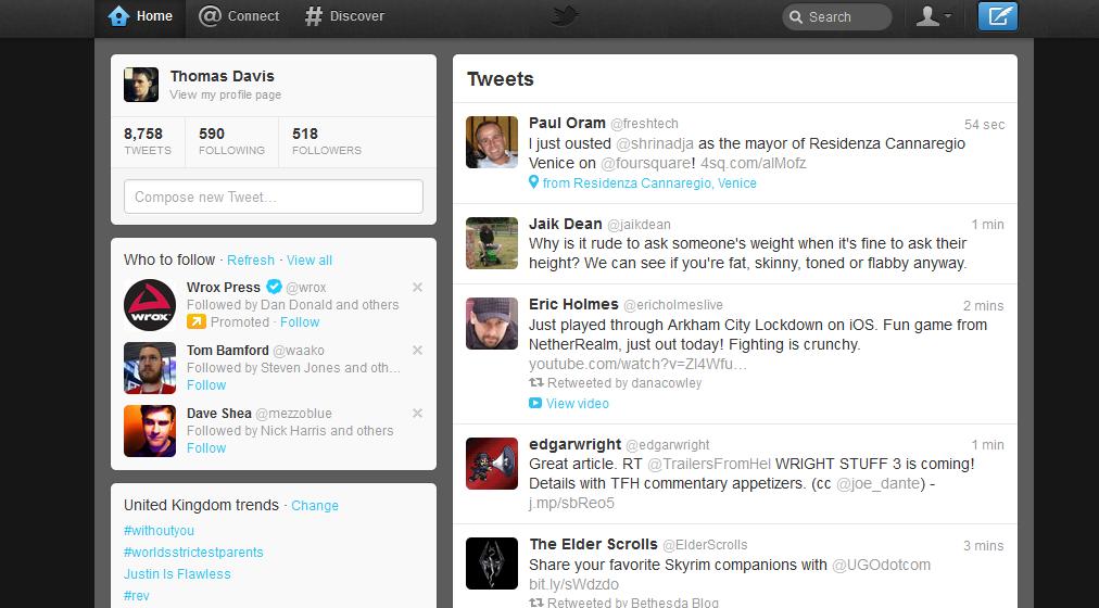 new twitter web layout design