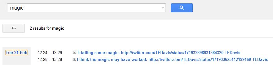 searching tweets in Google calender