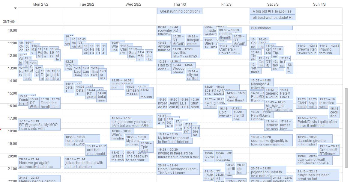 Tweets in calendar format